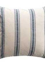 "24"" square cotton pillow, white & blue"