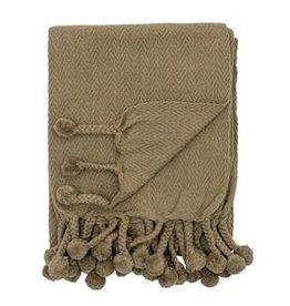 Cotton Throw with Braided Pom Pom Tassels, Green
