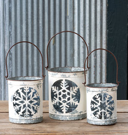 Antique White Snowflake Cut Out Luminaria Bucket