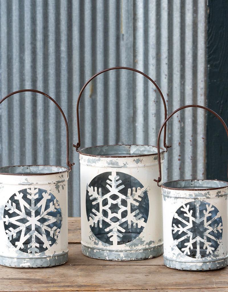 Antique White Snowflake Cut Out Luminaria Bucket