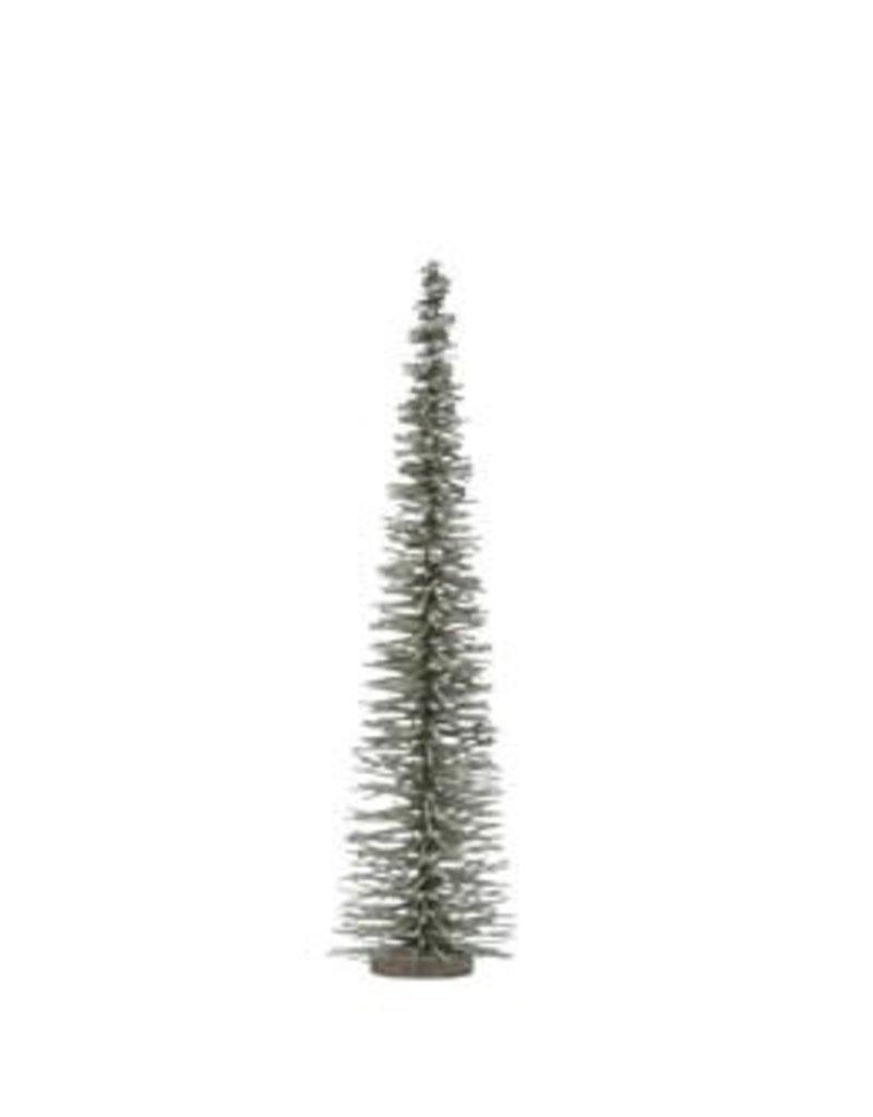 Bottle Brush Tree on Wood Base, Green w/ Glitter