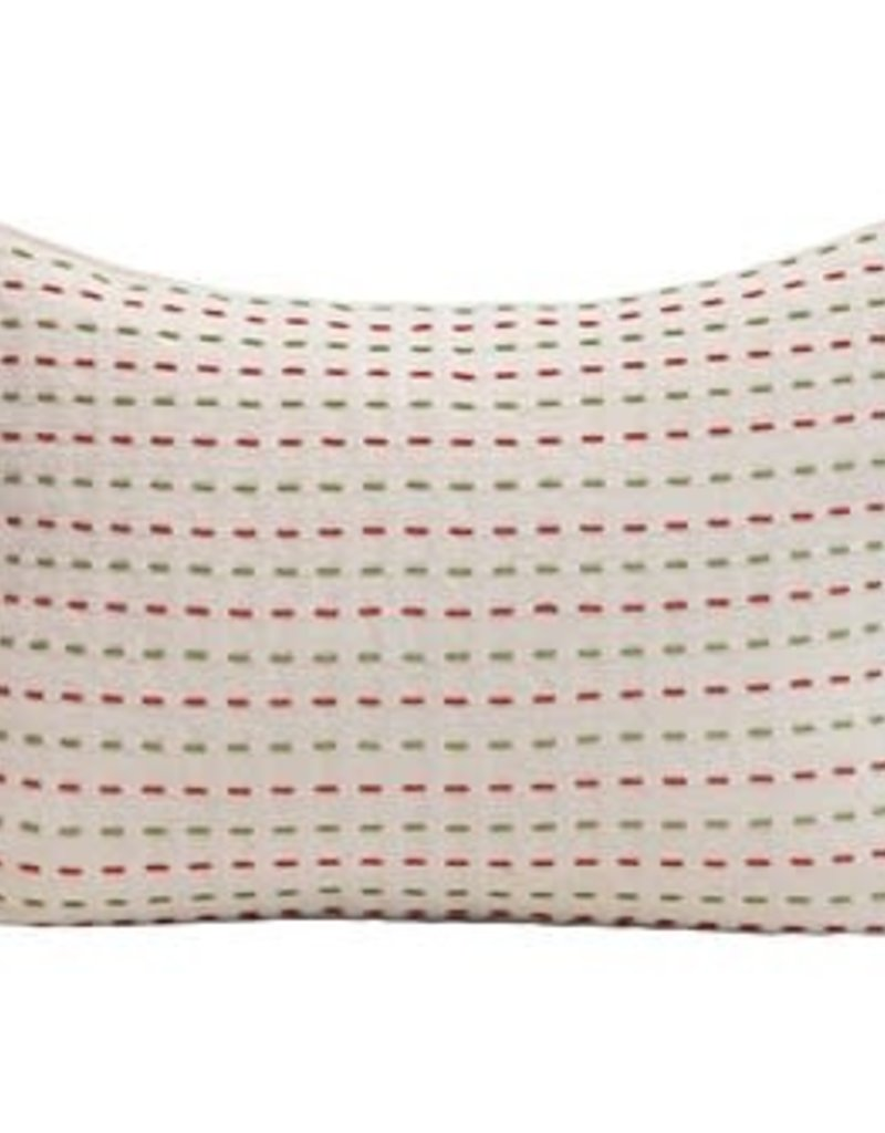 "20""x14"" Pillow w/red and green stitch"