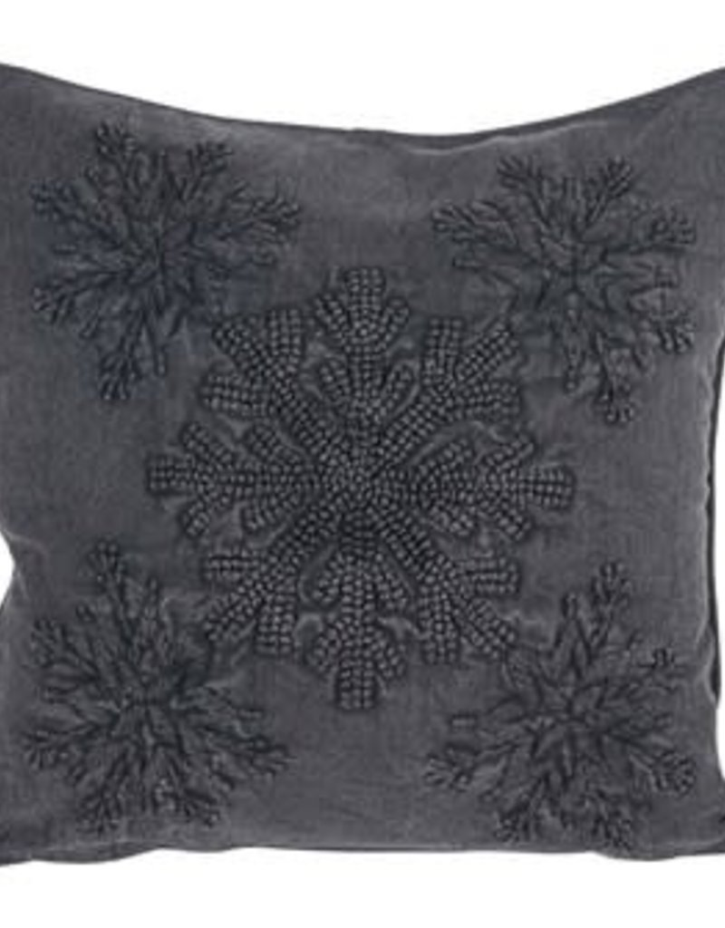 """18"""" Square Embroidered Pillow w/ Snowflake Applique, Charcoal Color"""