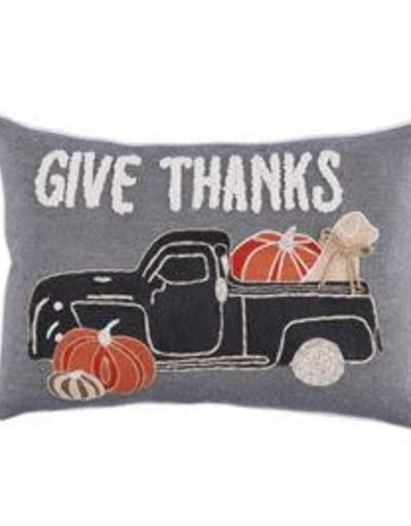 Give Thanks Dog Truck Pillow