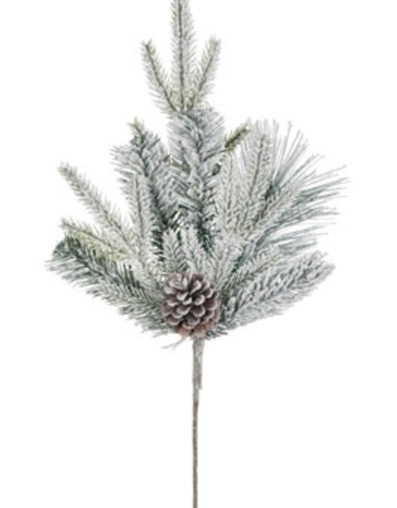 Flocked Pine w/cones pick