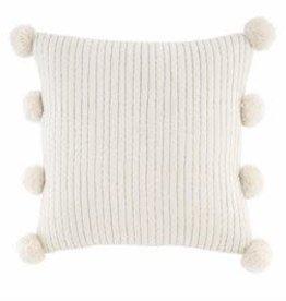 Sq Gold White Pom Pom Pillow