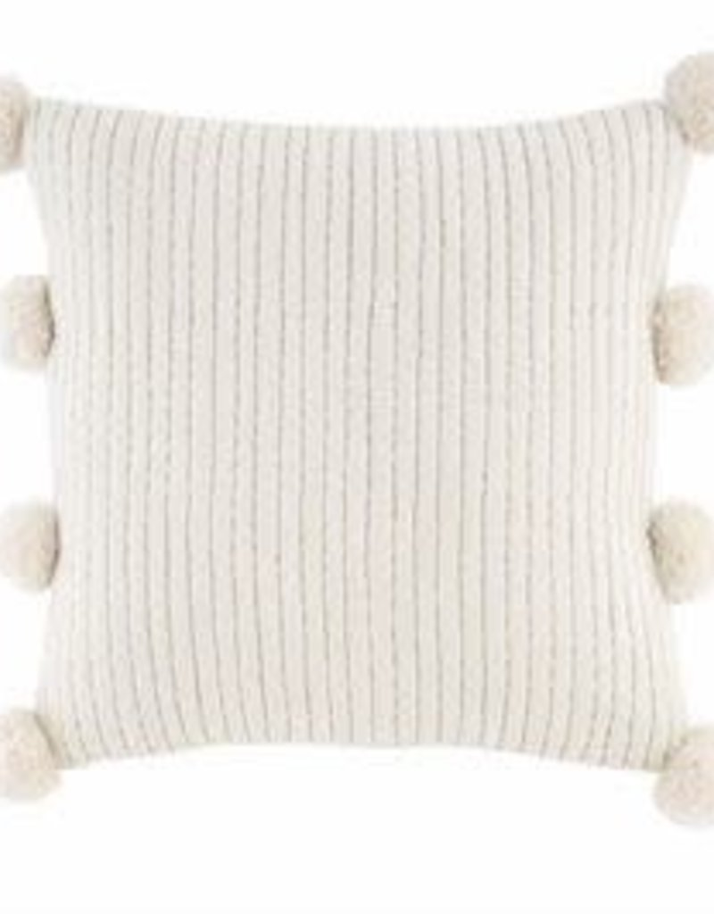 Sq Gold White Pom Pom Pillow