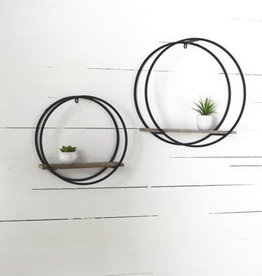 Black metal round shelf (set of 2)