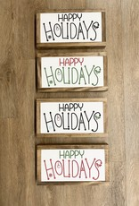 "Happy Holidays Wood Sign, 13.5""x7.5"""