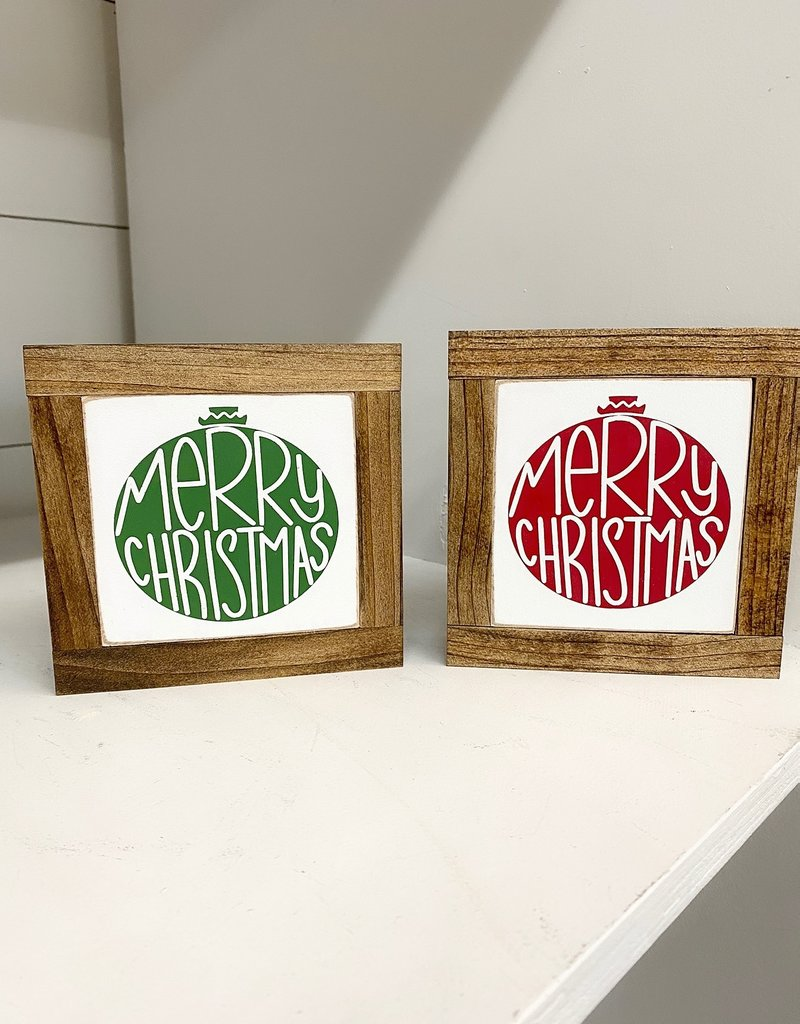 """Merry Christmas Ornament Wood Sign, 5.5""""x5.5"""""""
