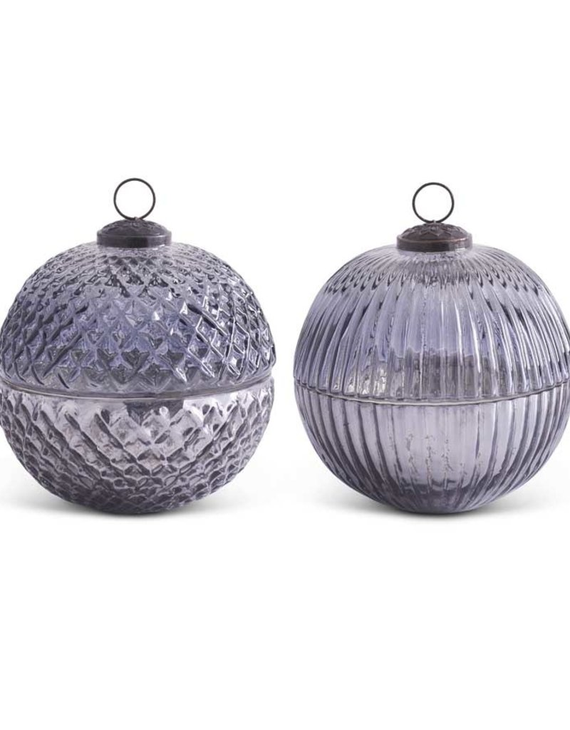 """5"""" Assorted Smoky Blue Gray Glass Ornament Candles (2 styles)"""