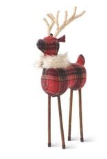 Red Plaid Reindeer W/Twine Antlers