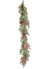 """60"""" Glittered Boxwood Berry Pinecone and Fir Garland"""