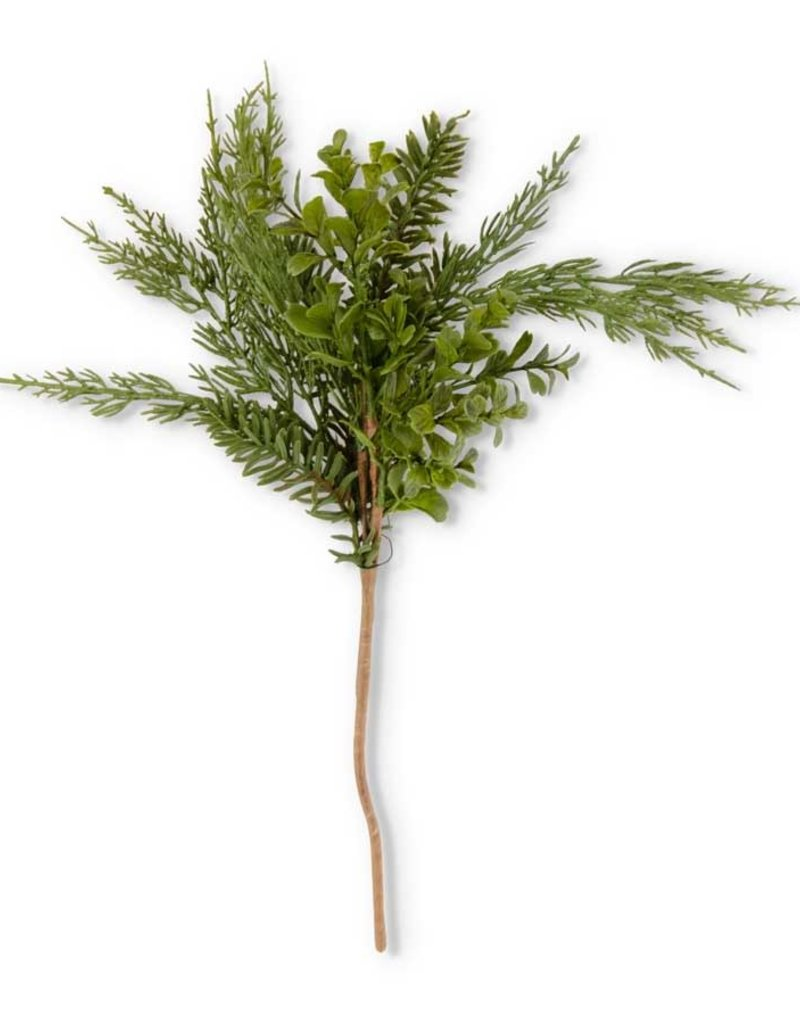 18 Inch Real Touch Boxwood and Mixed Pine Pick