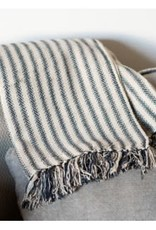 Charcoal striped cotton throw
