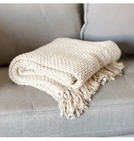 Cream cotton knitted throw