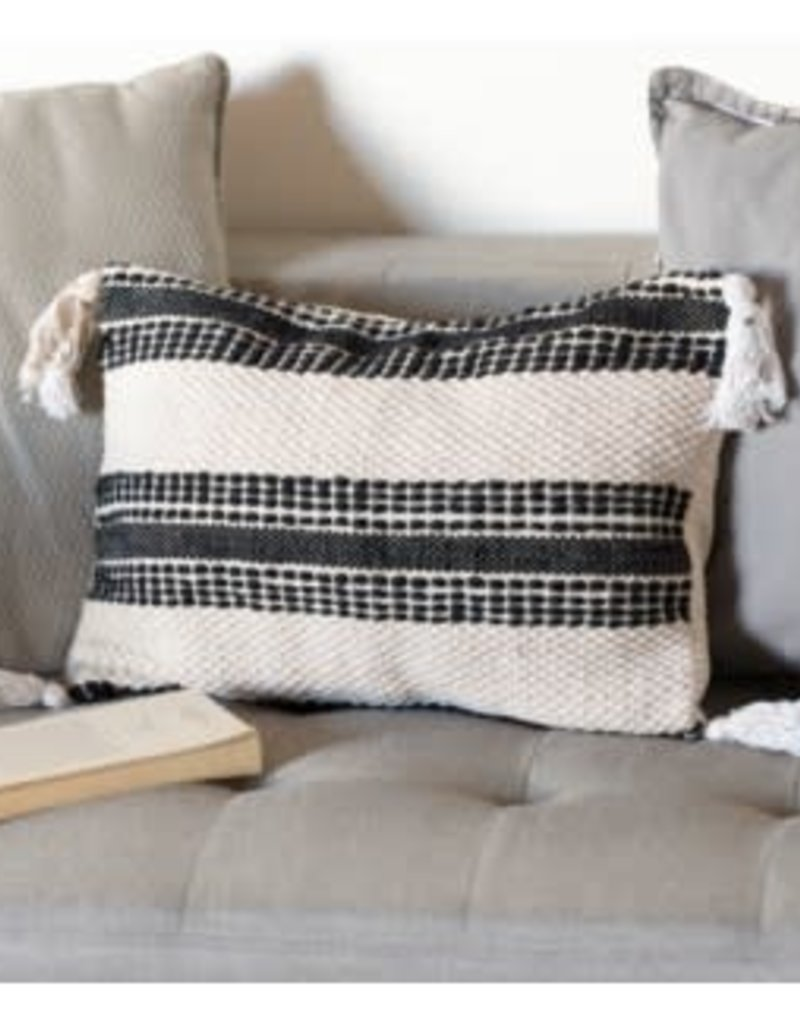Black stripe pillow cover, long