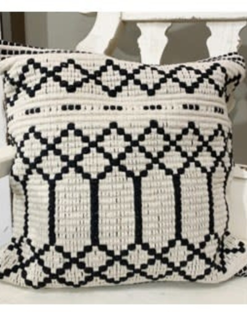Blk/Crm square pillow cover