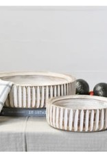 Carved round wood bowls