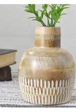 Carved Wood Vase