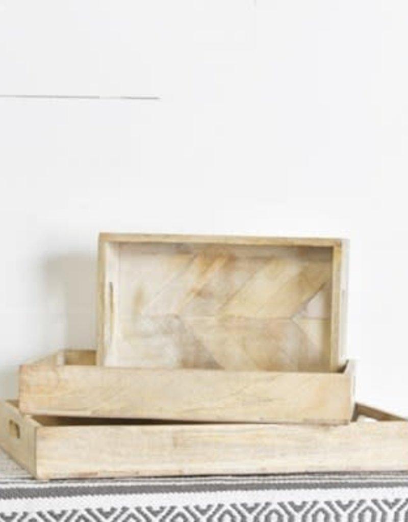 White Washed Wood Tray