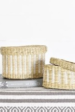 Oval Seagrass Basket with Lid