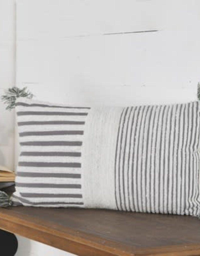 "12""x20"" Grey/white Stripe Pillow"