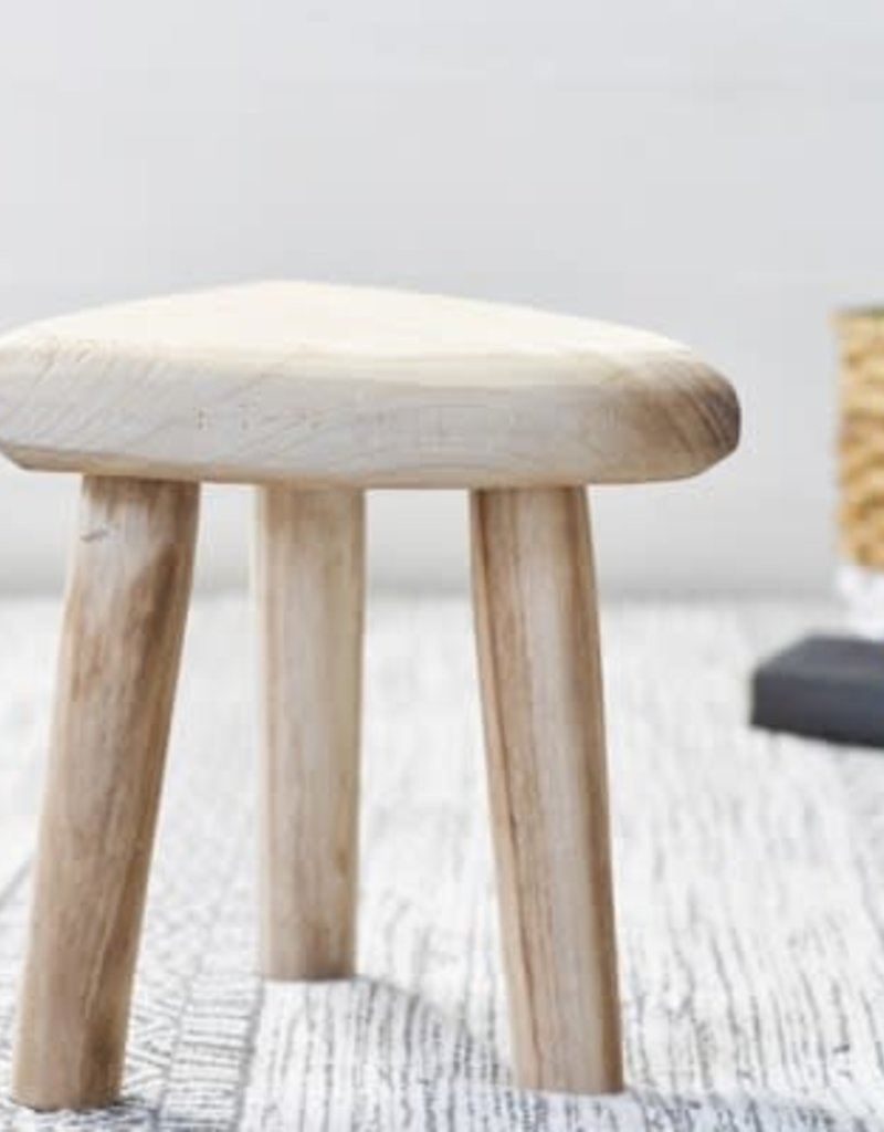 "10.6"" Carved Wood Stool"