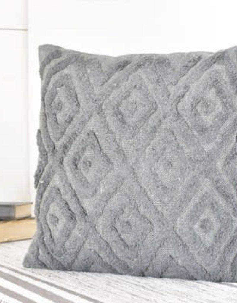 "20"" Dark Grey Diamond Pattern Pillow"