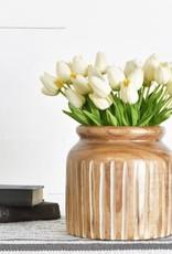 """8.75"""" Carved Wood Vase"""