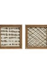 "12-1/4"" Square Wood Framed Handmade Paper Wall Decor"