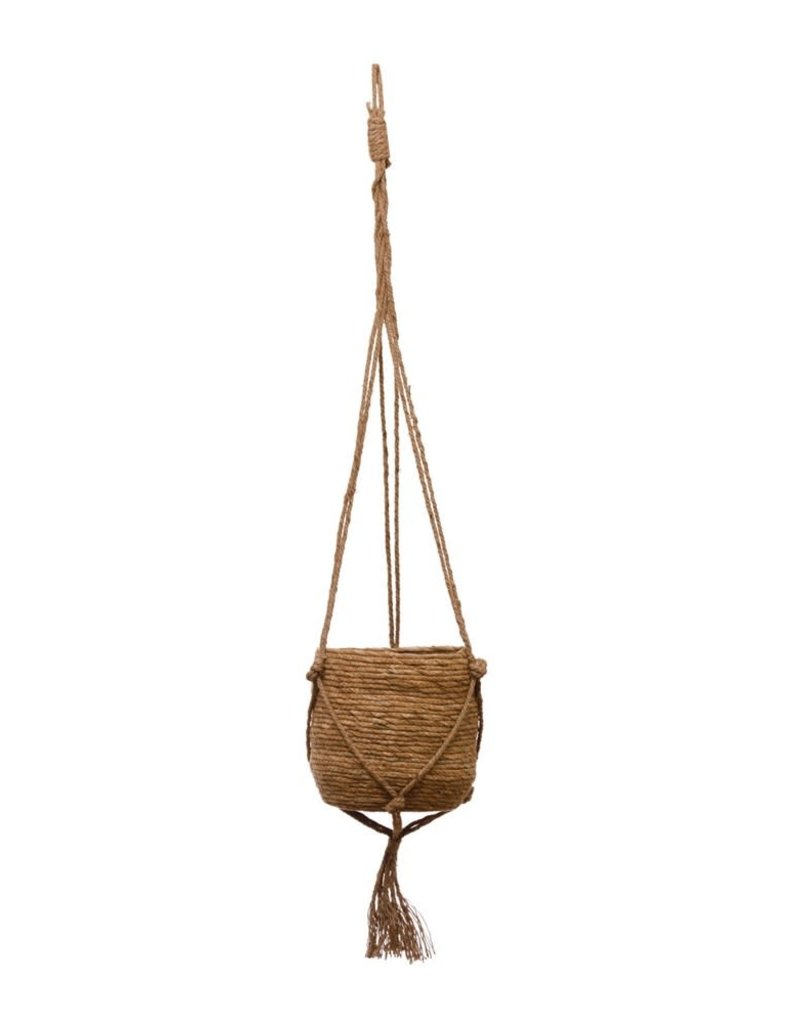 "Straw Planter with 33""H Jute Hanger & Tassel"