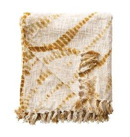 Tie-Dyed Throw with Fringe, Mustard Color