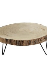 "11"" Round Paulownia Wood Pedestal"