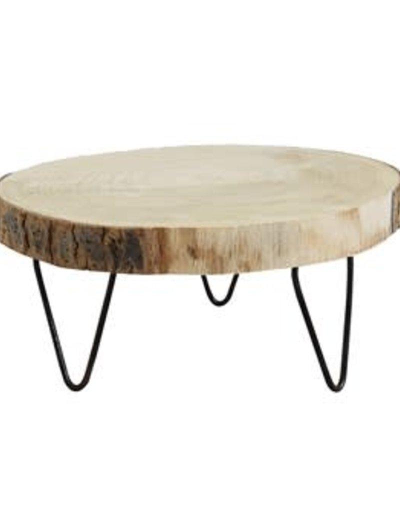"9"" Round Paulownia Wood Pedestal"