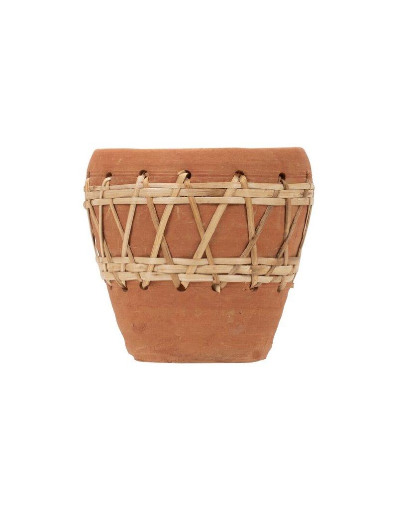 Woven Diamond Terracotta Pot