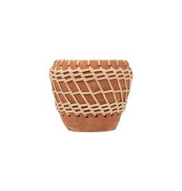 Woven Stripe Terracotta Pot