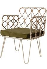Metal & Cane Chair w/ Velvet Cushion
