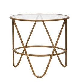 Faux Bamboo & Glass Top side table 19.5