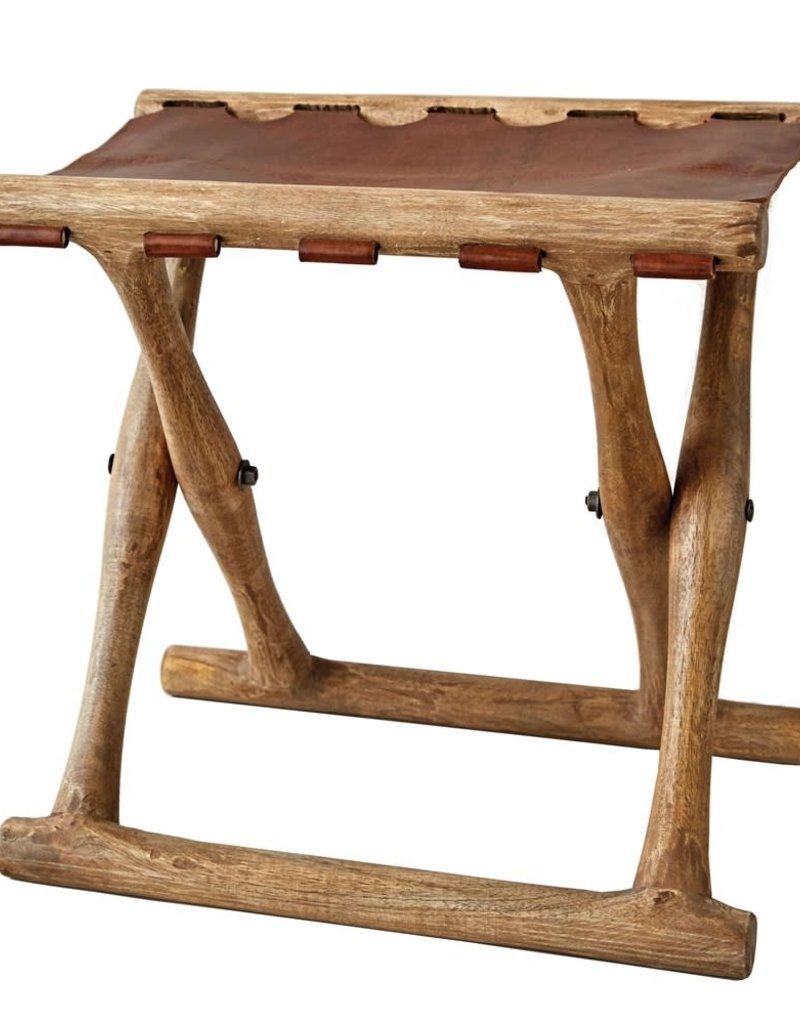 Acacia Wood & Leather Folding Stool