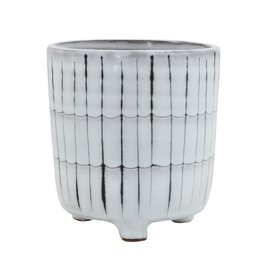 Terracotta Footed Planter White/Black