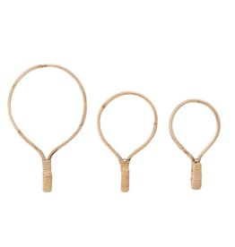 Round Cane Wood Hooks (Set of 3)