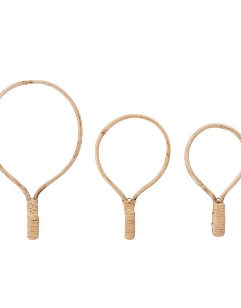 Round Cane Wood Hooks (Set of 3)