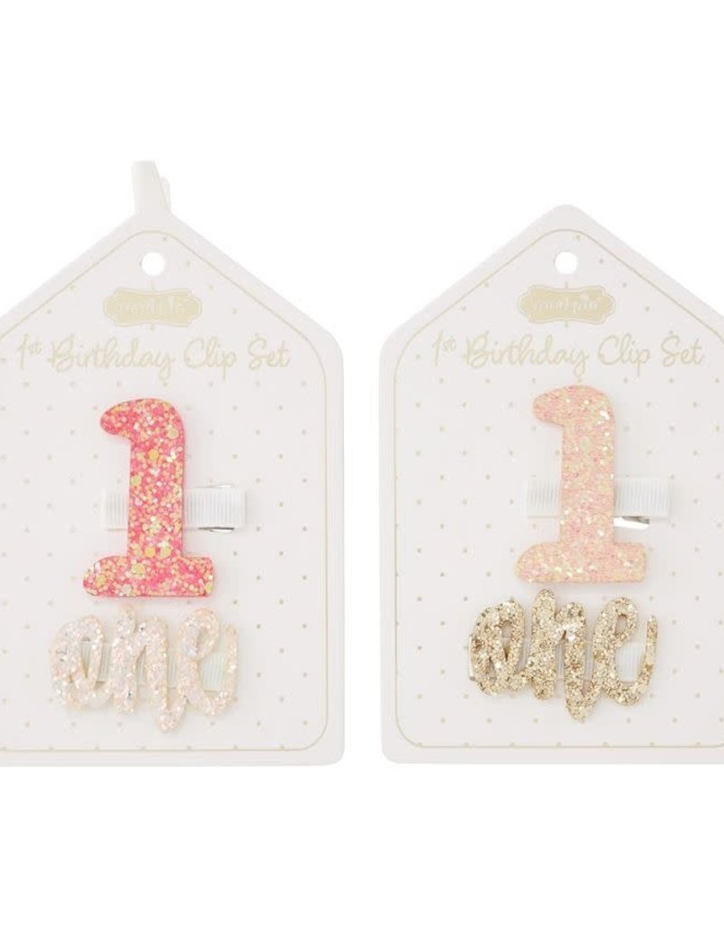 Light Pink 1st Bday Hair Clips