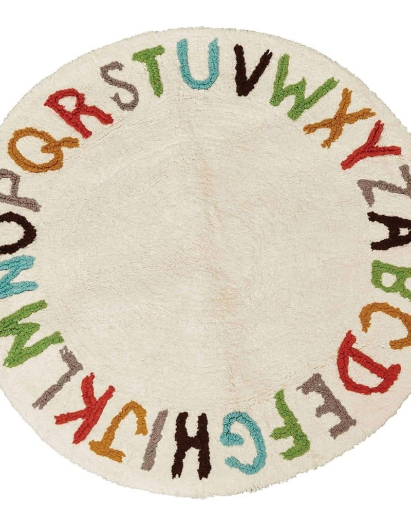 "38""R Tufted Cotton Rug, ABCs"