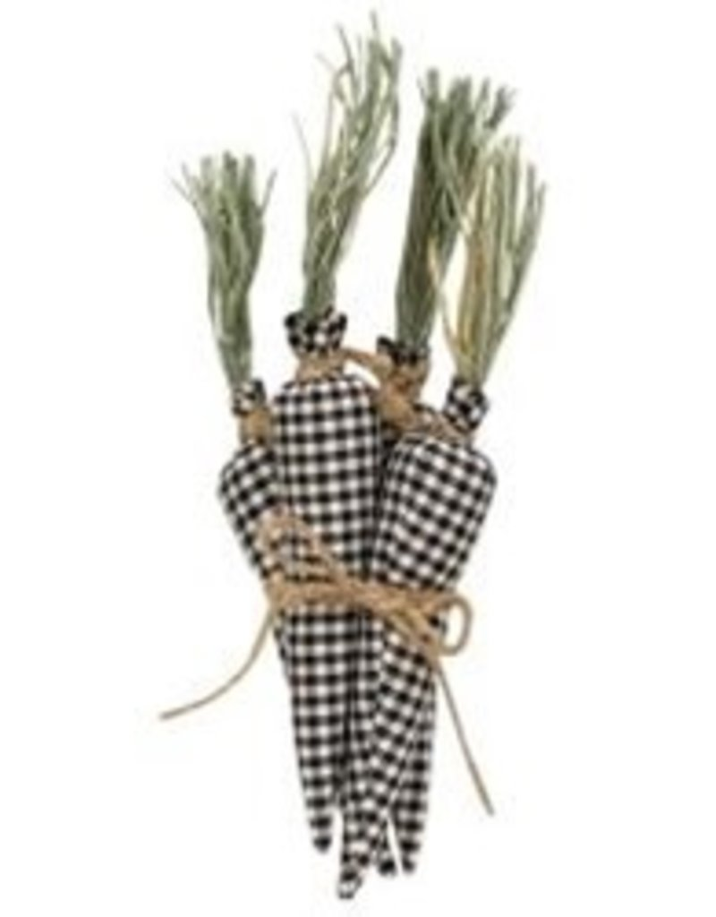Set of 4, black and white gingham carrots