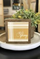"Hello Spring Plaid Sign 7.5""x7.5"""