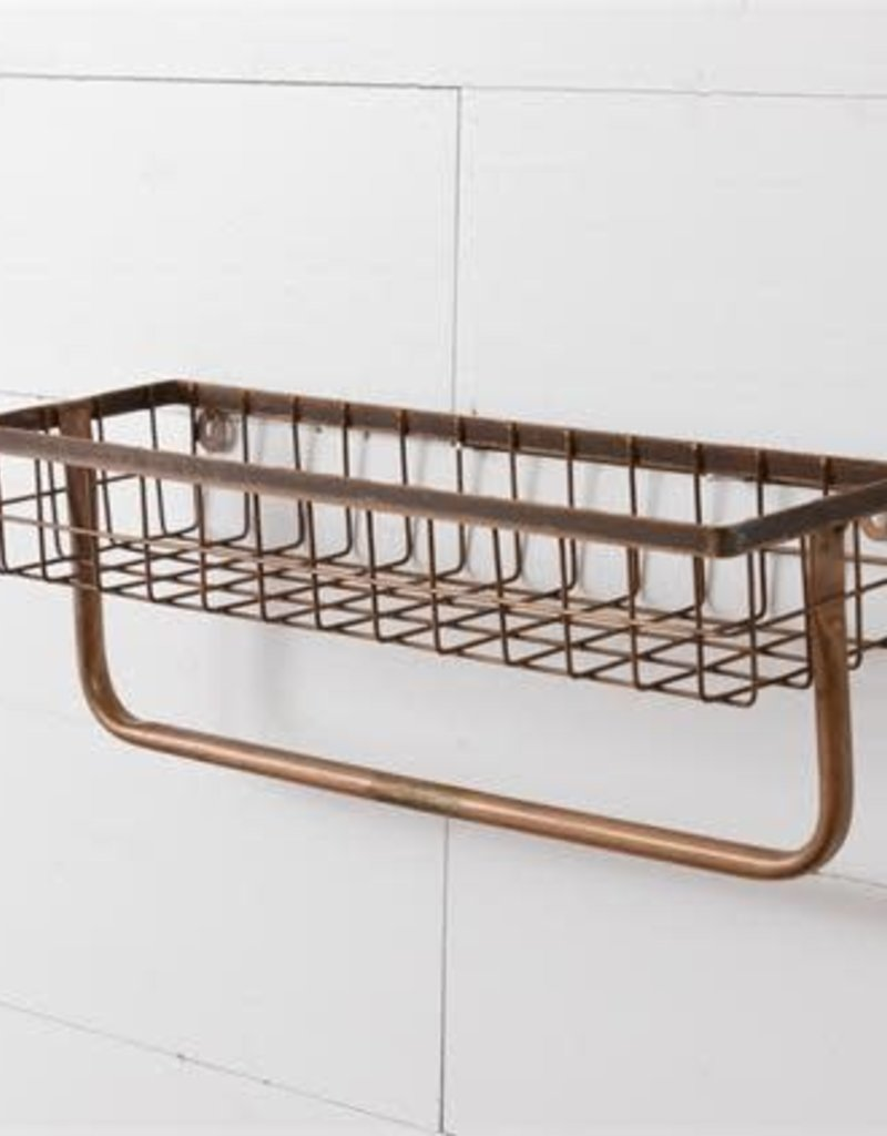 One-Tiered Organizer w/towel holder, Copper