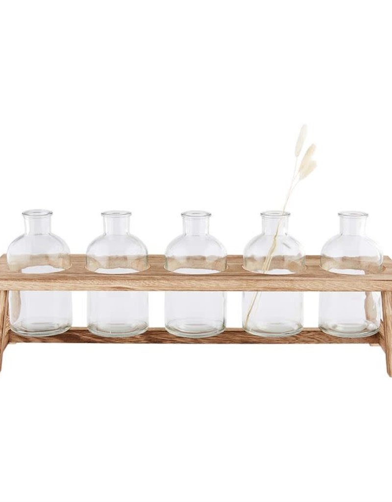 Glass vase wood stand