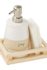 Stoneware Soap & Sponge Set